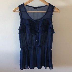Express Sheer Blue Peplum Tank Top